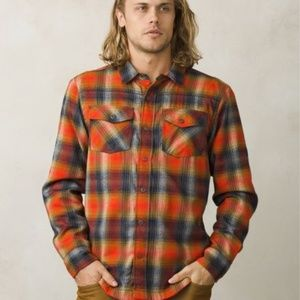 Prana flannel atomic orange shirt